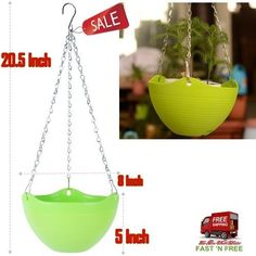 Hanging Flower Plant Pot Chain Basket Planter Holder Garden Outdoor Indoor Green #Mkono