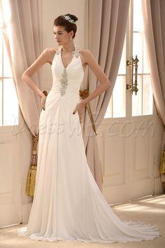 $129.89 Dresswe.com SUPPLIES Elegant Sheath/Column V-neck Floor-length Chapel Beaded Wedding Dress #dresswe pretty dress #fashion dress #dresswe cute wedding dress