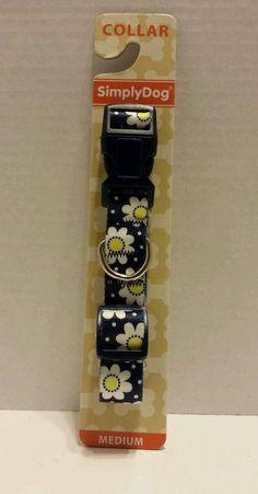 "Simply Dog Nylon Collar  Navy White Daisy  Medium 3/4"" x 12-20"" #SimplyDog"