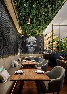 modern restaurant Gallery of Peyote Dubai Restaurant / Sordo Madaleno Arquitectos 4 - Bar Interior Design, Restaurant Interior Design, Commercial Interior Design, Cafe Design, Design Design, Restaurant Furniture, Outdoor Restaurant Design, Restaurant Seating, Interior Paint