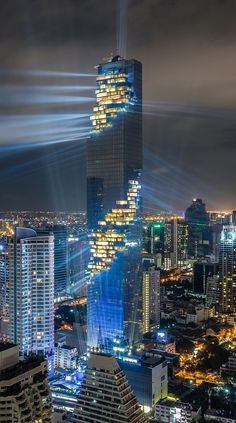 MahaNakhon Tower in Bangkok Architecture Concept Architecture, Futuristic Architecture, Beautiful Architecture, Architecture Design, Chinese Architecture, Architecture Office, Unusual Buildings, Amazing Buildings, Modern Buildings