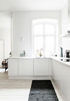 white kitchen with open space