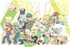 Super Smash Bros! With Ice Climbers (Nana & Popo), Toon Link, Mr. Game & Watch, Link, Olimar (and Pikmins), Pichu, Ness, Lucas, Captain Falcon, Zero Suit Samus, Yoshi, Jigglypuff, Luigi, Marth, Mario, Meta Knight, Kirby, Princess Peach, Pit and Ike.