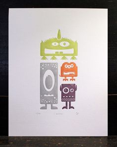 Letterpress Monster Print by shopsaplingpress Etsy