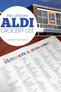 The Ultimate Aldi Grocery List - This list walks you aisle by aisle through the store – starting in snacks and ending in frozen foods (a kinda-crazy setup that's unique to Aldi, so hopefully this will make life easier for you.)  #frugal#frugalliving