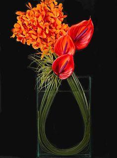 Modern arrangement with mokara orchids and anthurium by earlene
