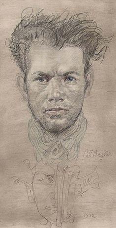 """Cat Burglar"" - Austin Osman Spare (English, 1888–1956), pencil and crayon, 1956 {male portrait drawing #arthistory #twentiethcentury}"