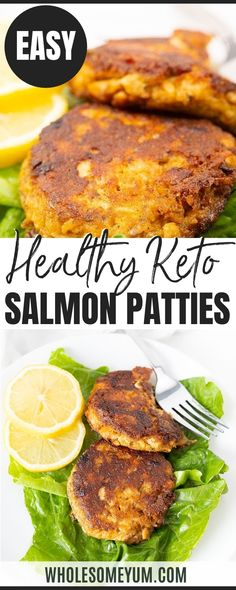 Low Carb Keto Salmon Patties Recipe (Salmon Cakes) - Low carb keto salmon patties (a.k.a. salmon cakes) are ready in 15 minutes, with simple pantry ingredients. This keto salmon patty recipe is a budget-friendly way to enjoy healthy fish. #wholesomeyum Healthy Meals, Healthy Eating, Healthy Recipes, Seafood Dishes, Seafood Recipes, Salmon Patties Recipe, Keto Salmon, Whole Roasted Cauliflower, Usda Food