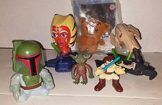 SIX VINTAGE STAR WAR COLLECTION OF TOYS MADE FOR MCD AND BK  2001 THRU 2008