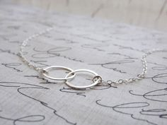 DOUBLE CIRCLE NECKLACE - STERLING SILVER CONNECTED CIRCLES NECKLACE - TWO CIRCLE NECKLACE  $52.00