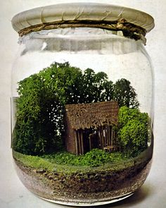 Stück Natur: The Microenvironment-in-a-Jar by Hans-Rucker & Co. 1971-73. This is a museum piece, but looks easy to duplicate with a miniature house or shed, soil, and moss in a covered glass jar - very charming!