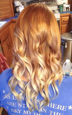 Strawberry blond ombre, curls done with a chi flat iron