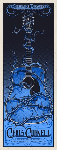 Poster Design for Chris Cornell at The John Anson Ford Amphitheatre by Jim Mazza