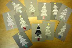 Julkort, av @Ida (Tyg och otyg). http://tygochotyg.blogspot.se/2012/12/aterbruksjulkort.html