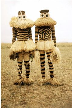 Halloween costumes for you and a friend? Minganji masqueraders from the Pende peoples near Gungu, Democratic Republic of Congo, Arte Tribal, Tribal Art, Folk Costume, Costumes, Charles Freger, Costume Ethnique, Afrique Art, Art Premier, Art Africain