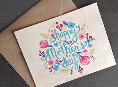 Wood Mothers Day Card by ninjandninj on Etsy