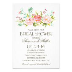 Rose Garden | Bridal Shower Card | Floral, outdoor,garden wedding | Pink Wedding