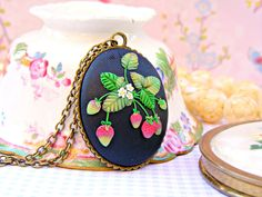 Strawberry Necklace, Strawberry Kawaii Necklace, Black Pendant, Polymer Clay…