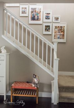 Picture kit wall layout app set home decor frames white staircase, picture Gallery Wall Staircase, Staircase Wall Decor, Stair Walls, Staircase Makeover, Staircase Design, Picture Wall Staircase, Picture Frames On The Wall Stairs, Stairway Photo Gallery, Ikea White Picture Frames