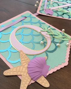 Mermaid birthday party banner Love the pearl detail! Little Mermaid Birthday, Little Mermaid Parties, Mermaid Birthday Invites, Mermaid Party Invitations, Birthday Invitations, Mermaid Baby Showers, Baby Mermaid, Deco Disney, Under The Sea Party