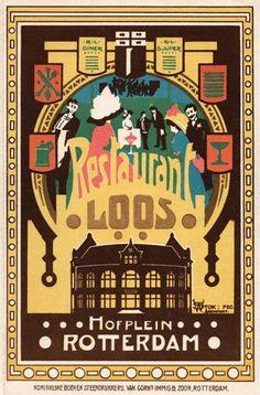 Reclamekaart met lied, Restaurant Loos   Willem Stok, ca. 1908 (collectie Arjan den Boer)