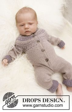 Winter Wonder / DROPS Baby - Knitted onesie with Nordic pattern for babies and children in DROPS BabyAlpaca Silk Winter wonder / DROPS baby - free knitting patterns by DROPS design Pufflin pufflin baby strampler stricken Winter Wonder / D Baby Knitting Patterns, Knitting For Kids, Baby Patterns, Free Knitting, Crochet Patterns, Drops Design, Romper Suit, Baby Jumpsuit, Drops Baby