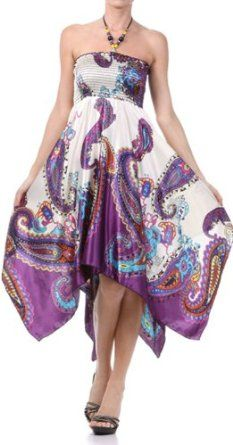 Paisley Design Satin Feel Beaded Halter Smocked Bodice Handkerchief Hem Dress,