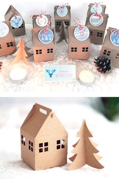 Gold Christmas Decorations, Christmas Wrapping, Cardboard Crafts, Paper Crafts, Diy Crafts, Christmas Time, Christmas Crafts, Christmas Ornaments, Christmas Villages