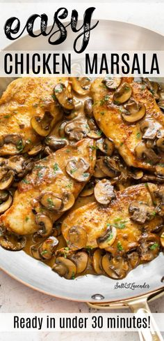 This easy chicken marsala recipe is an Italian-American restaurant favorite thats simple to make at home from scratch. Fried Chicken Breast, Chicken Breasts, Recipe With Cooked Chicken Breast, Chicken Back Recipe, Food Dishes, Main Dishes, Easy Chicken Recipes, Keto Chicken, Easy Chicken Dishes