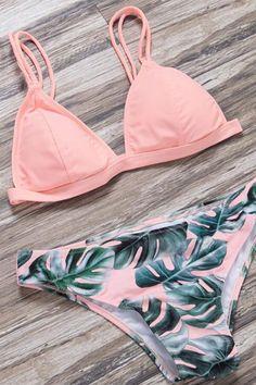 19f75507affc5 Floralkini Pink Solid Bikini Top X Palm Tree Leaves Bikini Bottom
