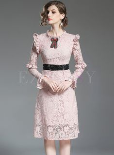 Shop for high quality Elegant Lace Falbala Slim A-line Dress online at cheap prices and discover fashion at Ezpopsy.com