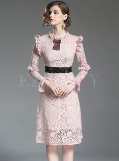 Shop Elegant Lace Falbala Slim A-line Dress at EZPOPSY. Cheap Maxi Dresses, Casual Dresses, Fashion Dresses, Chiffon Dress, Lace Dress, Chiffon Saree, White Chiffon, Myanmar Traditional Dress, Royal Clothing