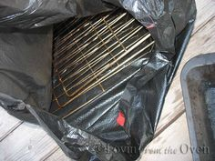 Cleaning Oven Racks ~ very easy ~ must leave bag OUTSIDE...