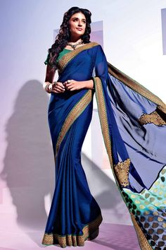 Blue Faux Georgette Saree with Printed and Lace Work -Vishal34905