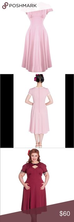 1940's Wartime Pinup Pink Tea Dress NEW This 1940s, wartime inspired dress is sure to become a favorite in your wardrobe, with its classic A-line skirt and diamond keyhole neckline. Created from a soft and floaty chiffon style fabric, this war time inspired dress features a high neckline offset by a keyhole opening topped with a tiny white bow. The slightly gathered sleeve add a nice, feminine touch while darting along the waistline gives the full skirt plenty of swing without widening the…