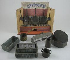 Lot Antique 19th C Miniature Doll House Cusine Kitchen Tin Plate Pans Pots Etc | eBay