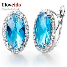 Baru 2017 Perak Disepuh Big Blue Kristal Pernikahan Perhiasan Anting Panjang untuk Wanita Anting-Anting dengan Batu Perhiasan Anel Anillos R766