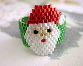 Peyote Ring Santa Christmas Beaded Seed Bead - size 5, 6, 7, 8, 9, 10, 11, 12