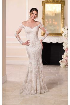 197.99 €  Vestido de noiva Sereia Cauda Pequeno Costas cobertas por um  tecido transparente Renda b95789fb54f5