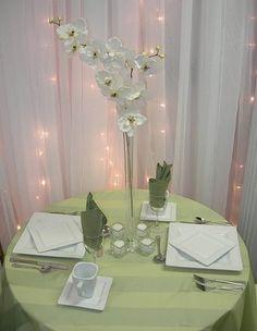 Flowers, Reception, Candles, Centerpieces, Table decoration, Vase glass, Color white, Flower orchid, Vendor njs design