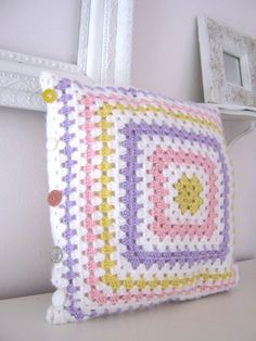 Lizbeth…Crochet Retro Pillow Cover- Made To Order – Granny Square Crochet Pillow Cases, Crochet Cushion Cover, Crochet Pillow Pattern, Crochet Cushions, Crochet Patterns, Unique Crochet, Crochet Home, Vintage Buttons, Decorative Pillow Covers