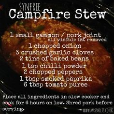 Slimming I love preparing a meal for the slow cooker knowing that when I get home from work later that day, the dinner should be ready to serve. This campfire stew is a fantastic winter warming meal that the whole family… Slow Cooker Slimming World, Slimming World Dinners, Slimming World Recipes Syn Free, My Slimming World, Slimming Eats, Campfire Stew Slimming World, Diet Recipes, Cooking Recipes, Healthy Recipes