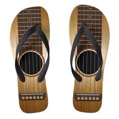 Custom Guitar Flip Flops -  Funny, custom flip flops                ... #custom #print on demand art themed #gift #inaflash  flipflops design by #reflections06 - #inaflash  #flipflops #trendy #whimsical #fun #popular #bold #funny #guit...