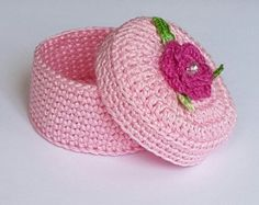 Crochet Jewelry Box Ring Bearer Small Lavender Covered Basket