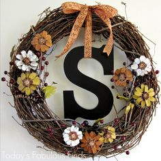 Today's Fabulous Finds: Fall Grapevine Wreath with Pine Cone Flowers {Take Two}