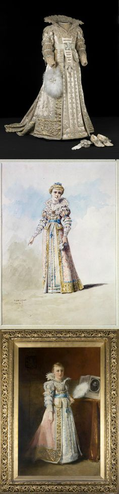 """Seventeenth century style costume, worn by HRH Princess Wilhelmina of the Netherlands (1880-1962) as """"Amalia of Solms,"""" dated 1890. It was based on an 1890 watercolor illustration by Parisian costume designer Eugène Pierre Lacoste (see middle photo, courtesy Collectie SHVHON, The Hague). The bottom photo shows an 1891 oil painting of the young princess in costume by Christoffel Bisschop (courtesy Collectie SHVHON, The Hague). Via the Modemuze Blog."""