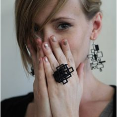 Melissa Borrell Design Open Square Ring in Black, Size 7