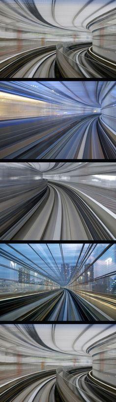 Long Exposure Photos of Yurikamome High Speed Rail Transit, Appuru Pai
