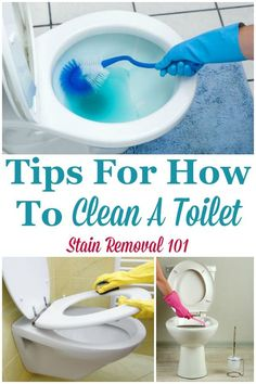 Here is a round up of tips for how to clean a toilet, both for normal cleaning and when it is extremely dirty. There are also tips for cleaning the outside of the toilet, and inside of the bowl {on Stain Removal 101} #CleanToilet #CleaningToilet #BathroomCleaningTips