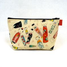 Kitty Kokeshi Fabric Large Cosmetic Bag Zipper Pouch Padded Makeup Bag Zip Pouch Alexander Henry Cute Kawaii Japanese Dolls Cats MTO